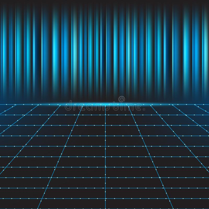 Línea rejilla con el fondo azul de la tecnología ilustración del vector