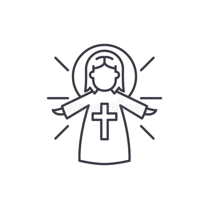 Línea religiosa concepto del ángel del icono Ejemplo linear del vector religioso del ángel, símbolo, muestra ilustración del vector