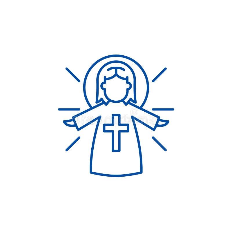 Línea religiosa concepto del ángel del icono Símbolo plano del vector del ángel religioso, muestra, ejemplo del esquema stock de ilustración