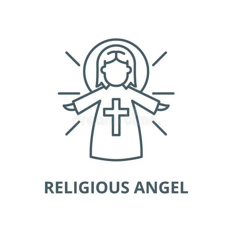 Línea religiosa icono, concepto linear, muestra del esquema, símbolo del vector del ángel libre illustration