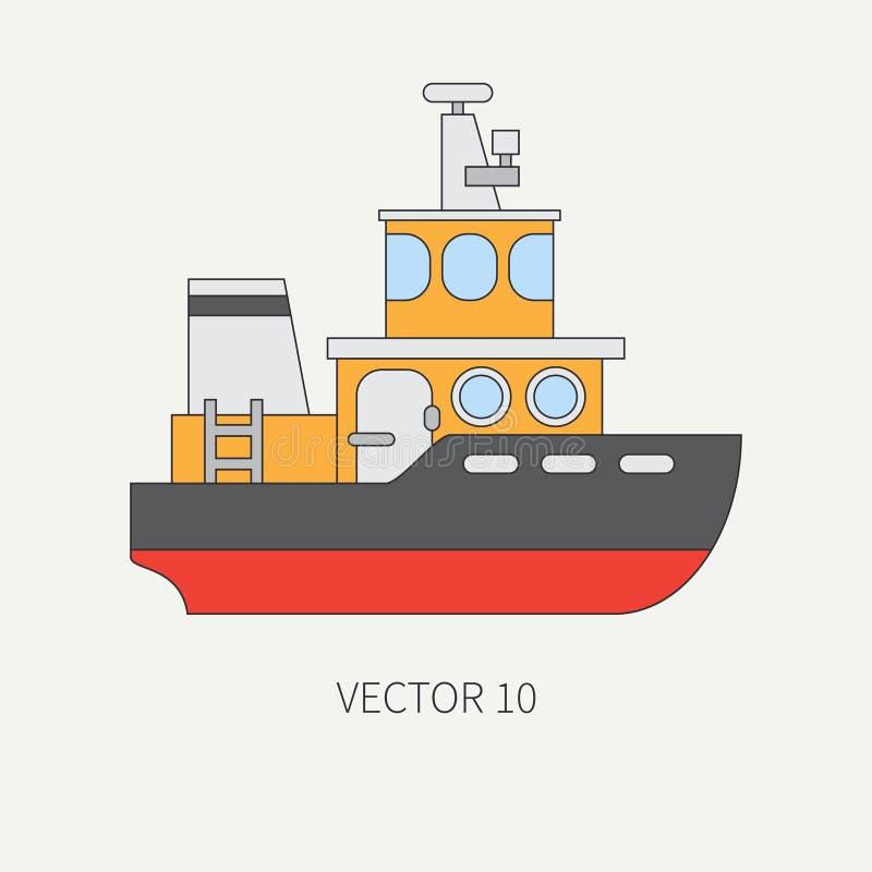 Línea remolcador plano del anuncio publicitario del icono del color del vector Flota mercantil Estilo del vintage de la historiet stock de ilustración