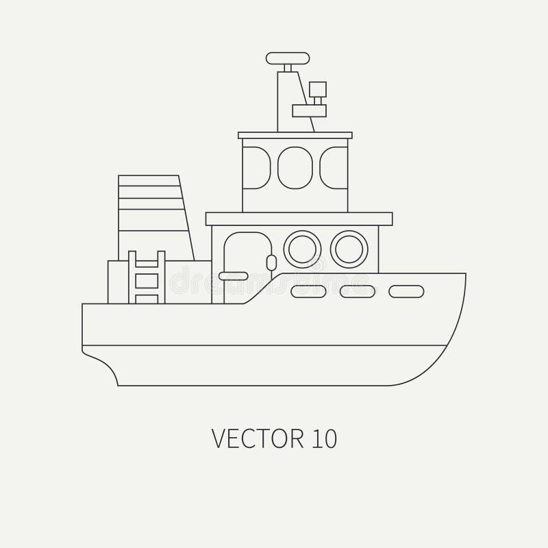 Línea remolcador retro del anuncio publicitario del icono del vector plano Flota mercantil Estilo del vintage de la historieta Oc ilustración del vector