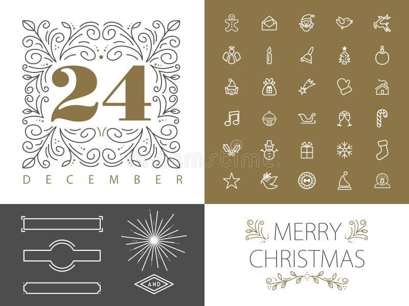 Línea retra diseño determinado del monograma del hispter de la Navidad ilustración del vector