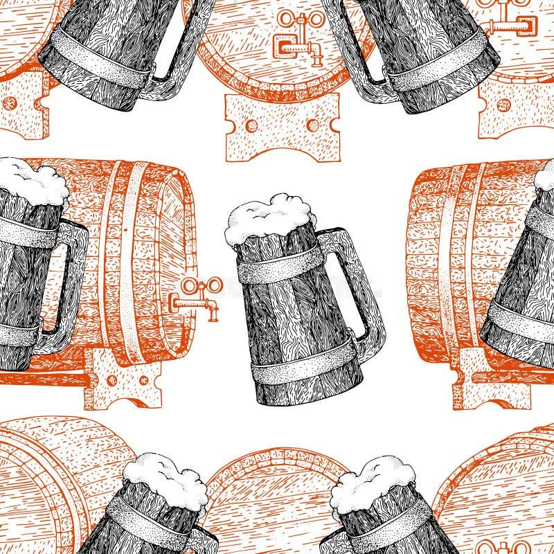 Línea retra modelo inconsútil del vintage original del vector del arte para la casa de la cerveza, barra, pub, elaborando a la co stock de ilustración