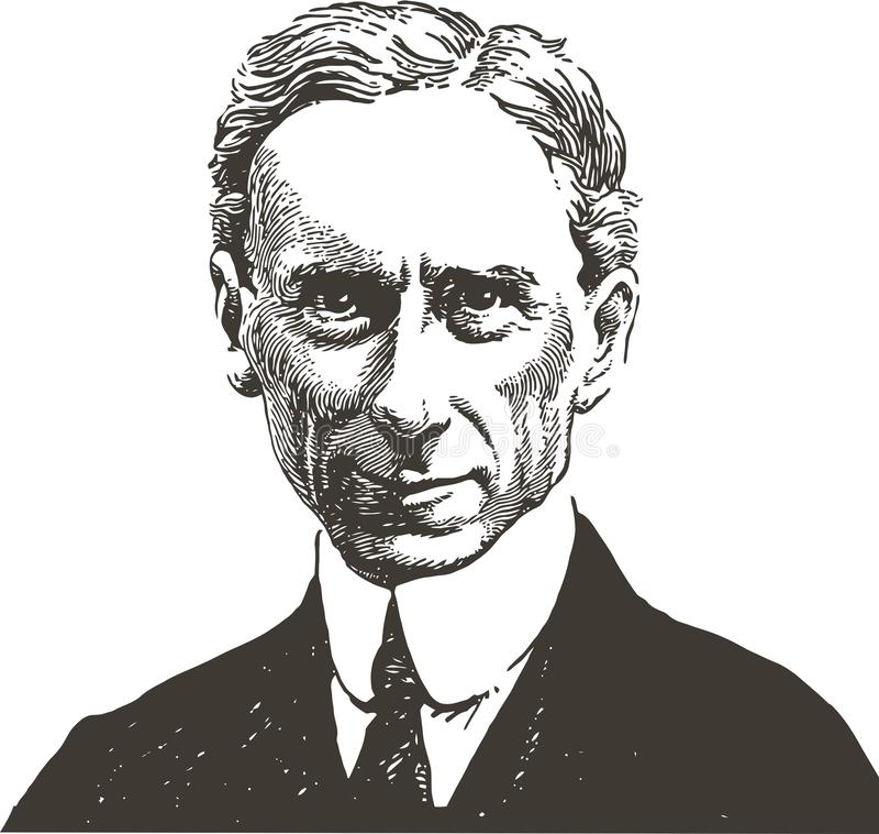 L?nea retrato de Bertrand Russell del arte stock de ilustración