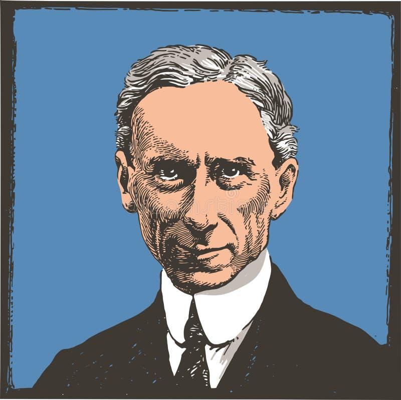 L?nea retrato de Bertrand Russell del arte ilustración del vector