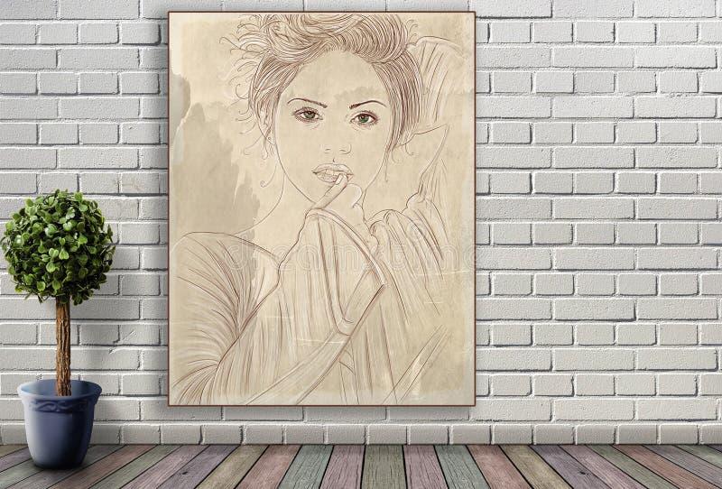 Línea retrato de mujer que cuelga en la pared de ladrillo fotografía de archivo libre de regalías