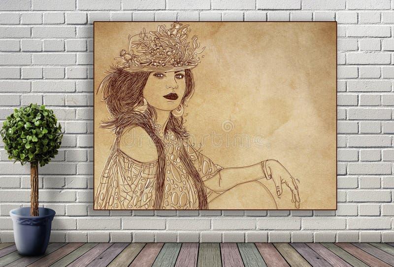 Línea retrato de mujer que cuelga en la pared de ladrillo fotos de archivo