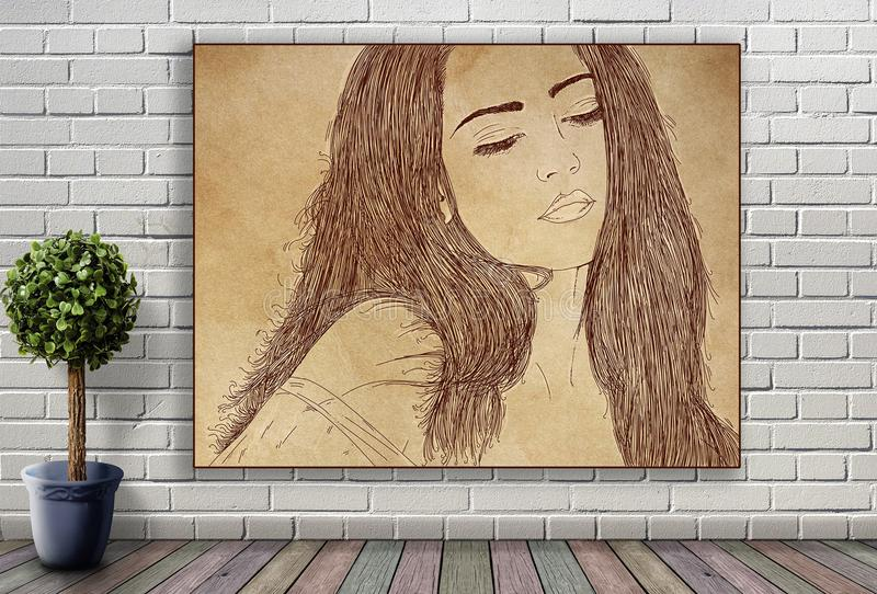 Línea retrato de mujer que cuelga en la pared de ladrillo fotos de archivo libres de regalías