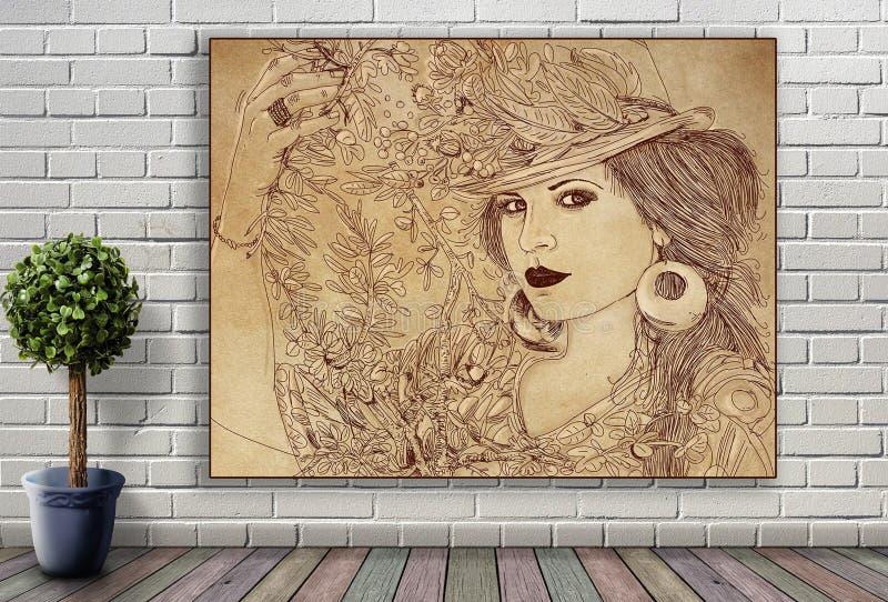 Línea retrato de mujer que cuelga en la pared de ladrillo imágenes de archivo libres de regalías