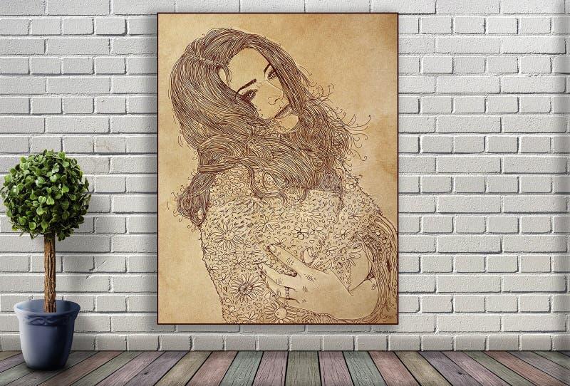 Línea retrato de mujer que cuelga en la pared de ladrillo foto de archivo libre de regalías