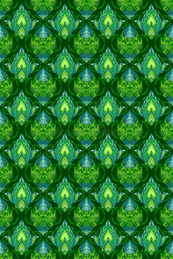 Línea rey tailandés de gigante y de Buda de dios con el diseño floral del pétalo para el tono verde azul del modelo inconsútil co ilustración del vector