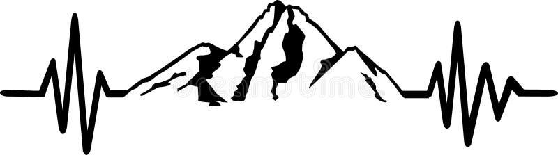 Línea roca del latido del corazón de la montaña stock de ilustración