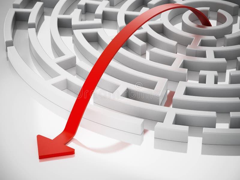 Línea roja con la flecha que lleva fuera del laberinto redondo ilustración 3D ilustración del vector