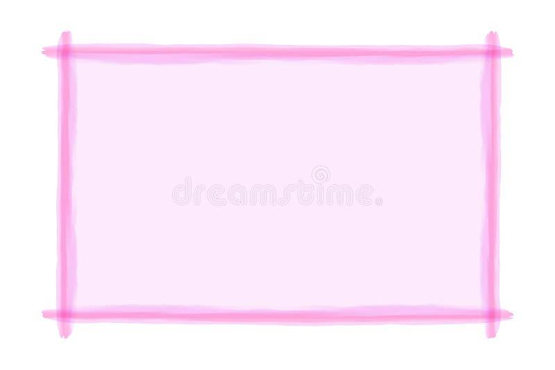 Línea rosada estilo del arte del marco de la acuarela para el fondo y el espacio de la copia, línea rosada marco de la bandera, l ilustración del vector