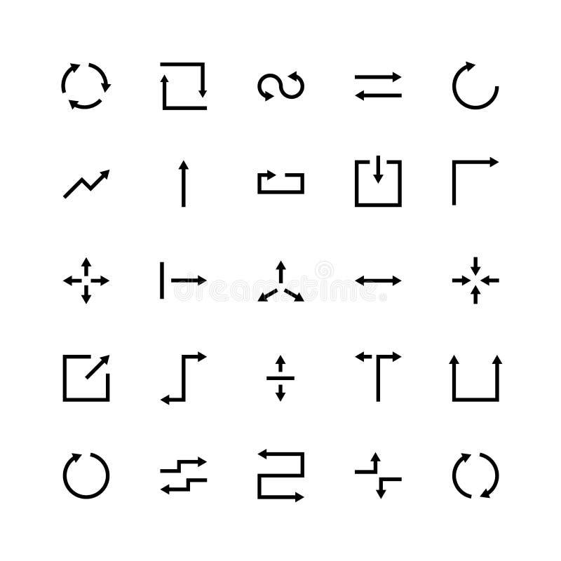 Línea símbolos de comercialización sociales del app de la página web de la flecha del sistema de los iconos de la silueta de la f libre illustration