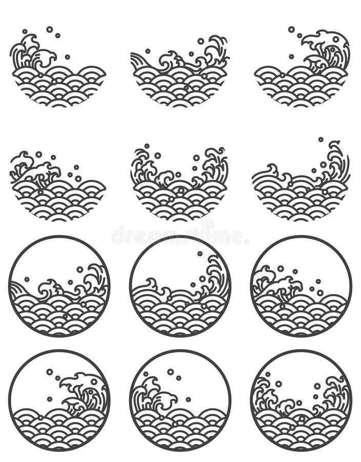 Línea símbolos de la onda de agua del logotipo stock de ilustración