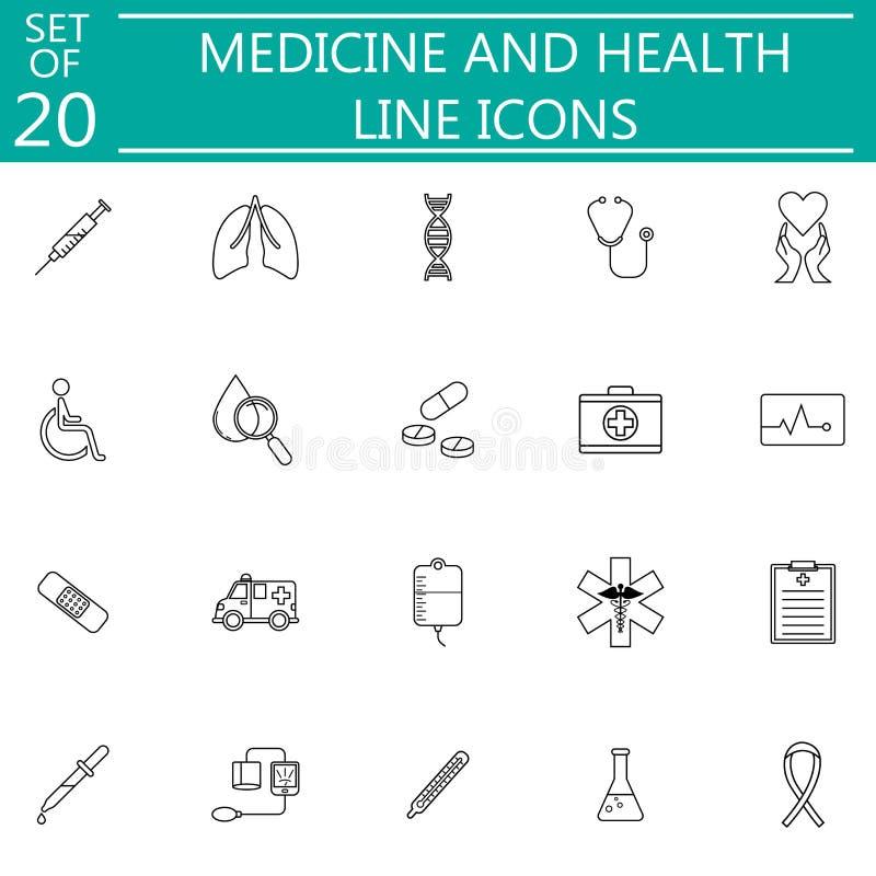 Línea símbolos médicos determinados de la medicina y de la salud del icono stock de ilustración