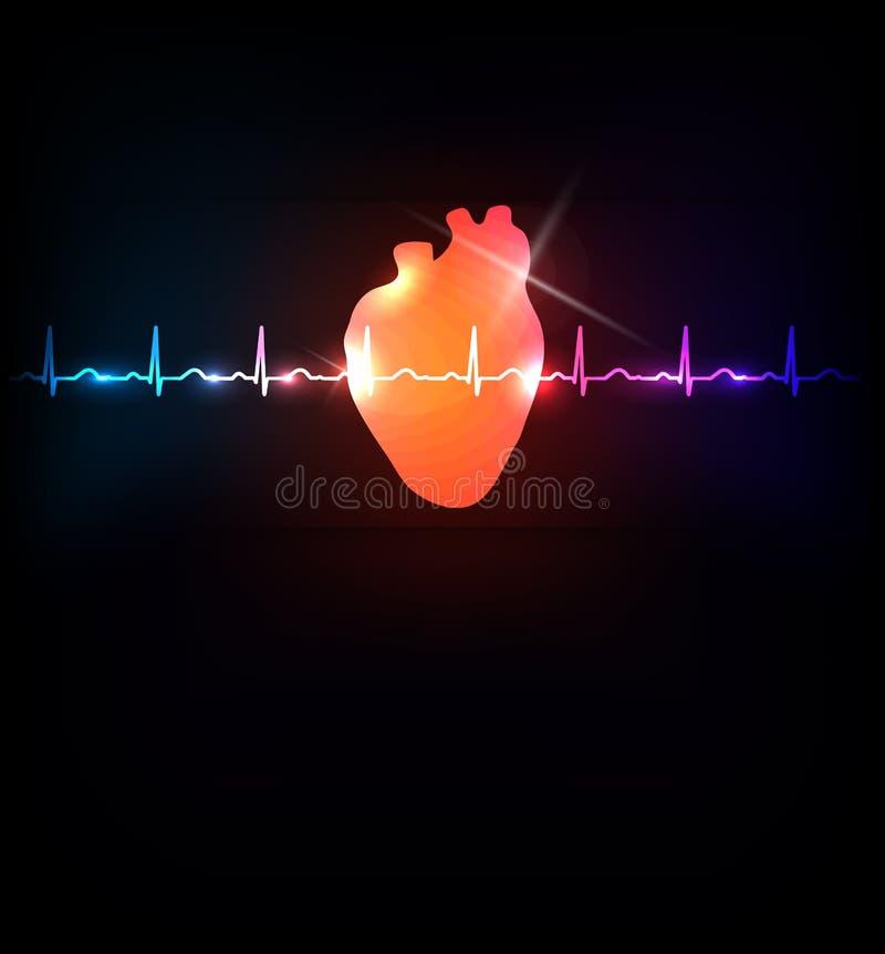 Línea sana del corazón y de vida ilustración del vector