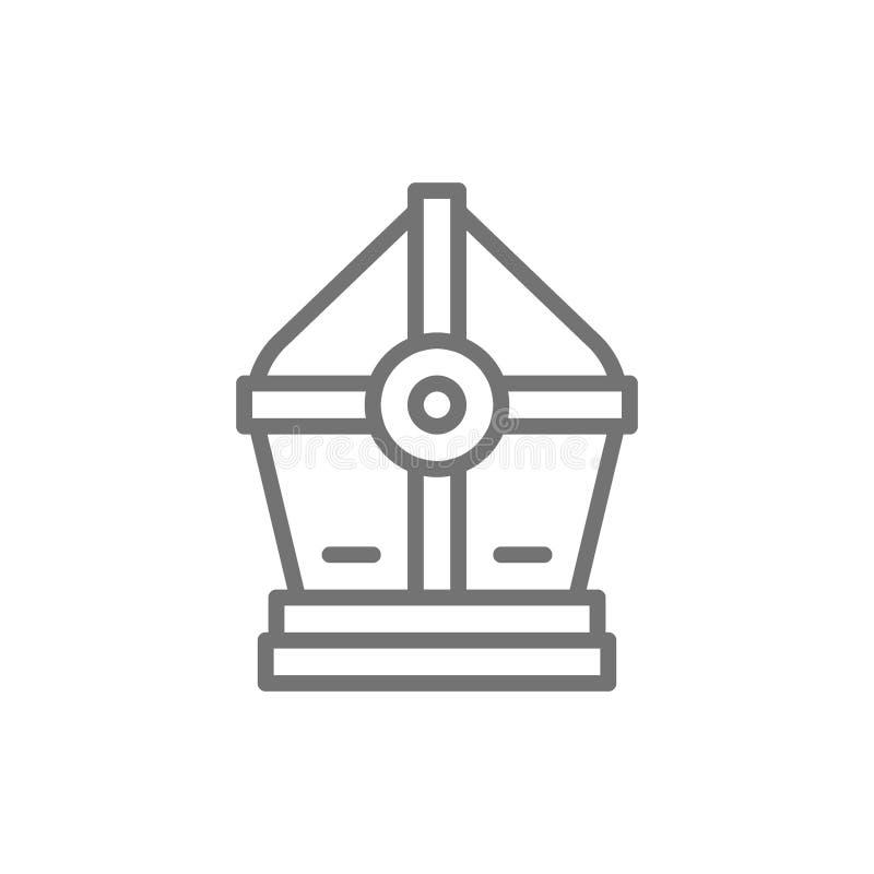 Línea santa icono del sombrero del papa libre illustration
