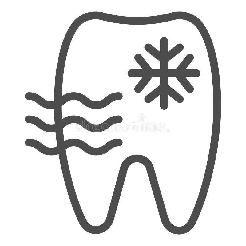 Línea sensible icono del diente Ejemplo del vector del diente y del copo de nieve aislado en blanco Diseño del estilo del esquema libre illustration