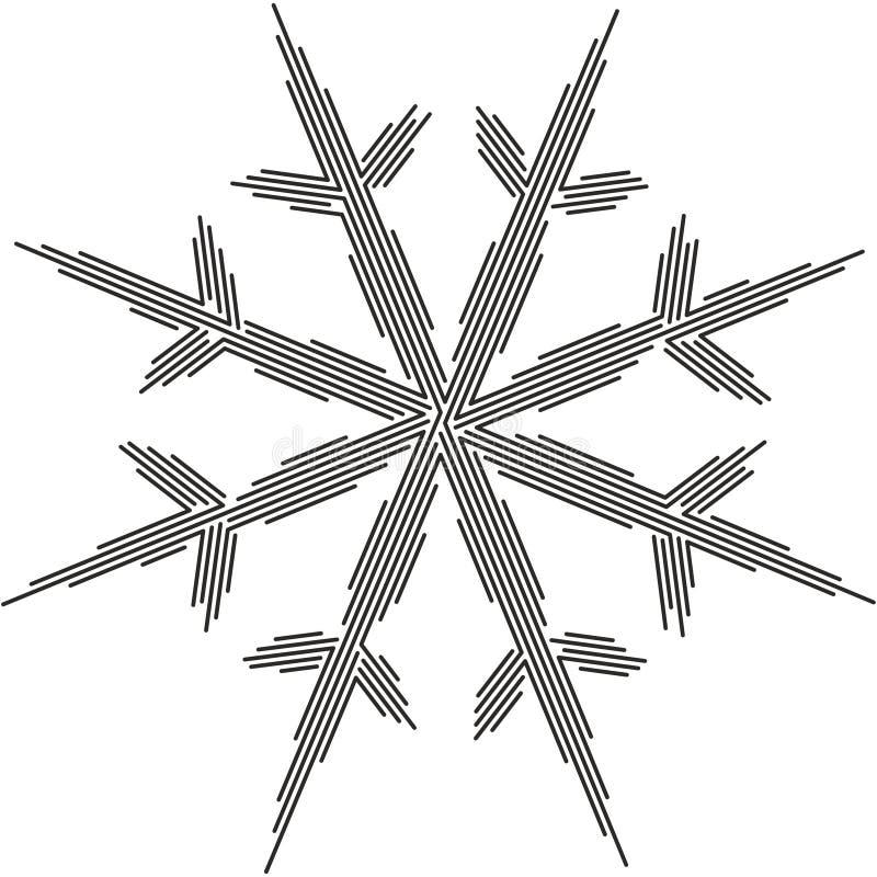 Línea silueta 02 del copo de nieve ilustración del vector