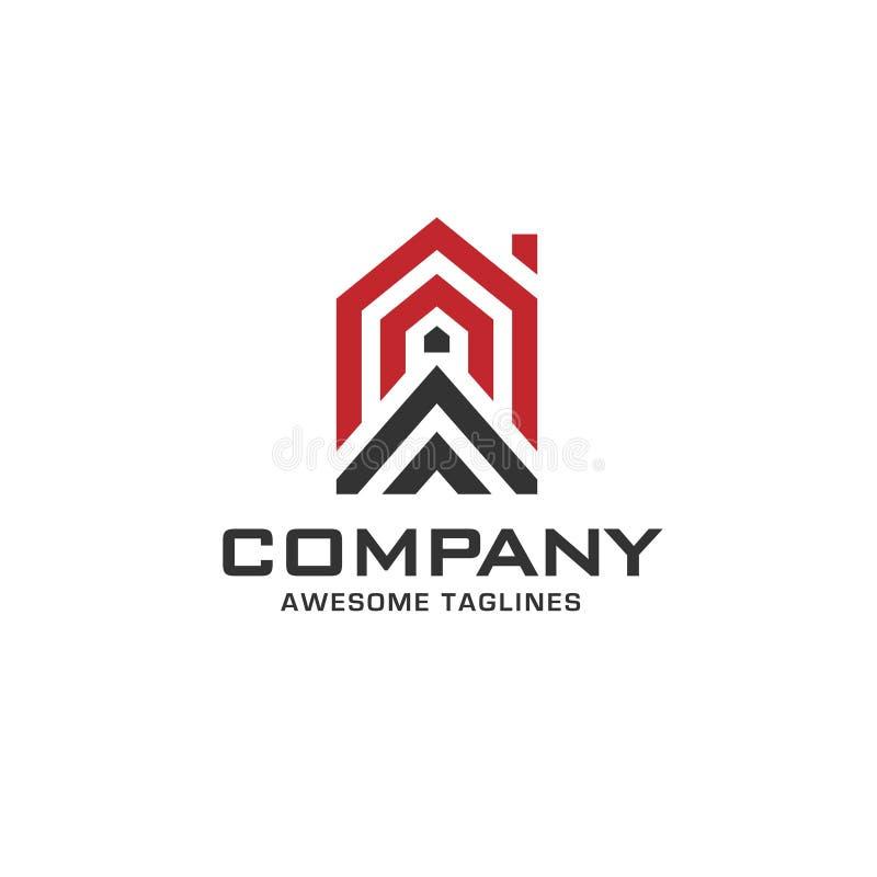 Línea simple creativa logotipo geométrico de la casa libre illustration