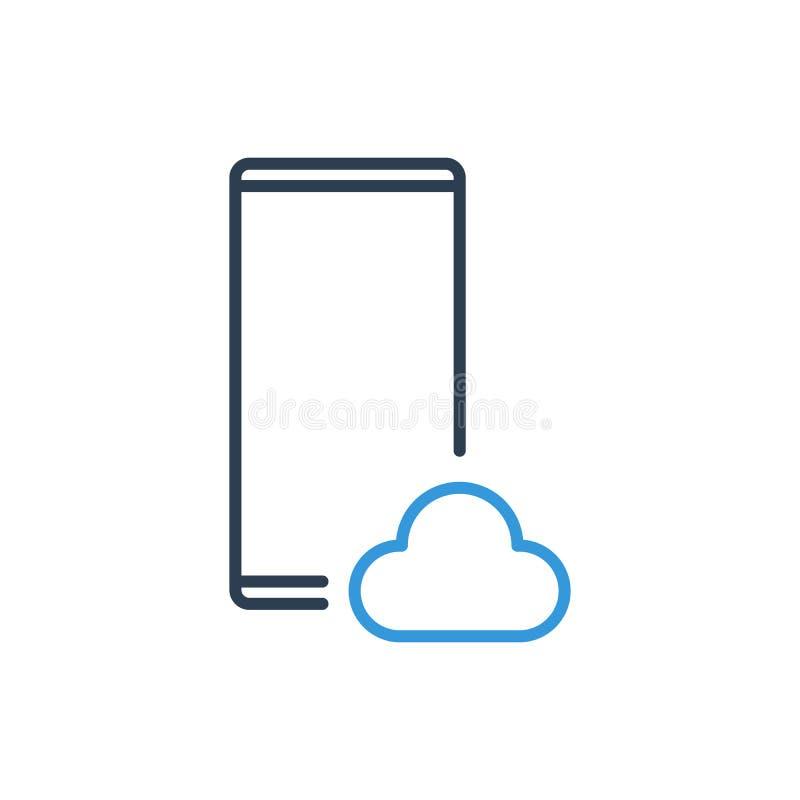 Línea simple de icono del vector del teléfono celular - nube de la información libre illustration
