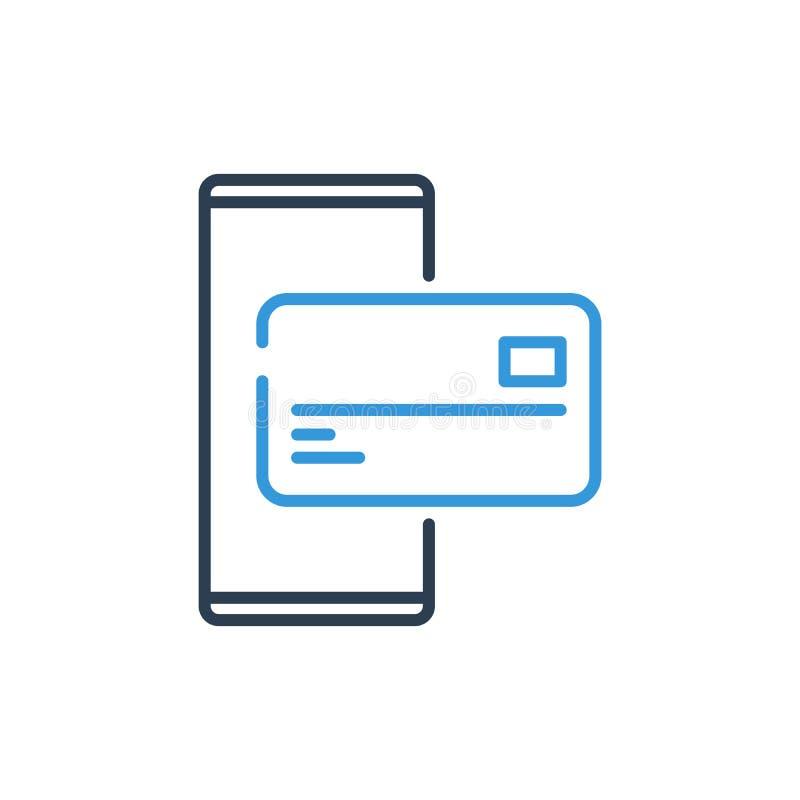 Línea simple de icono del vector del teléfono celular - símbolo del crédito del banco móvil y de la tarjeta libre illustration