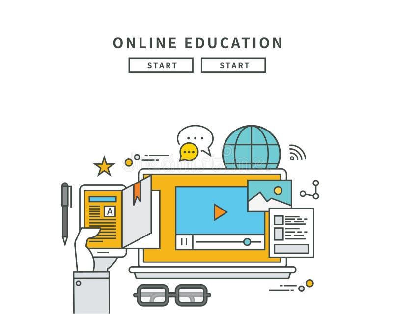 Línea simple diseño plano de la educación en línea, ejemplo moderno stock de ilustración