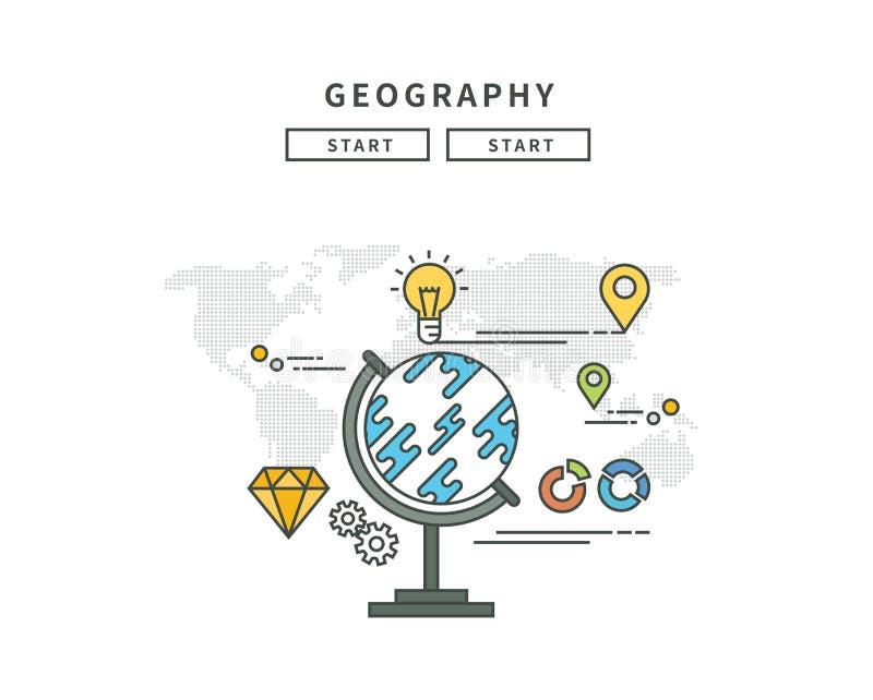 Línea simple diseño plano de la geografía, ejemplo moderno libre illustration