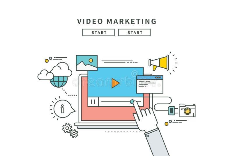 Línea simple diseño plano del márketing video, ejemplo moderno stock de ilustración
