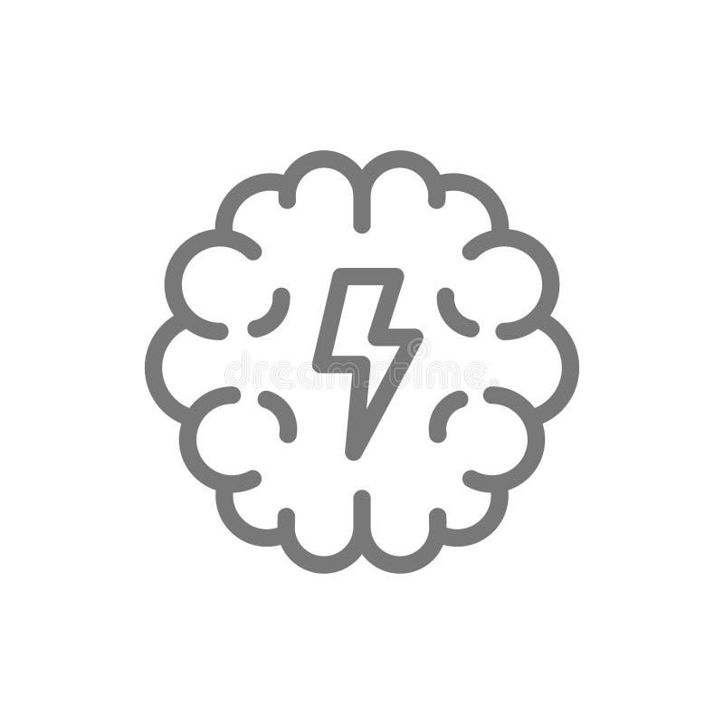 Línea simple icono del cerebro y de la mente Diseño del ejemplo del vector del símbolo y de la muestra Aislado en el fondo blanco stock de ilustración