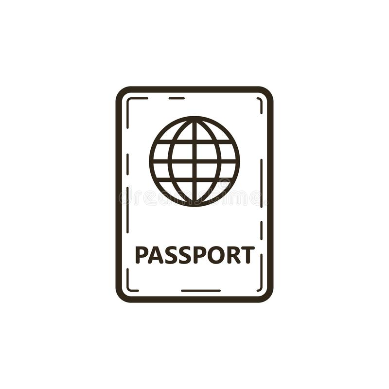 Línea simple icono del vector del pasaporte del arte libre illustration