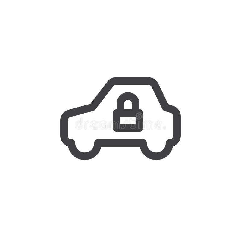 Línea simple icono, muestra del vector del esquema, pictograma linear del vehículo y de la cerradura aislado en blanco libre illustration