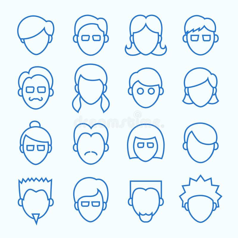 Línea simple iconos de las caras fijados libre illustration