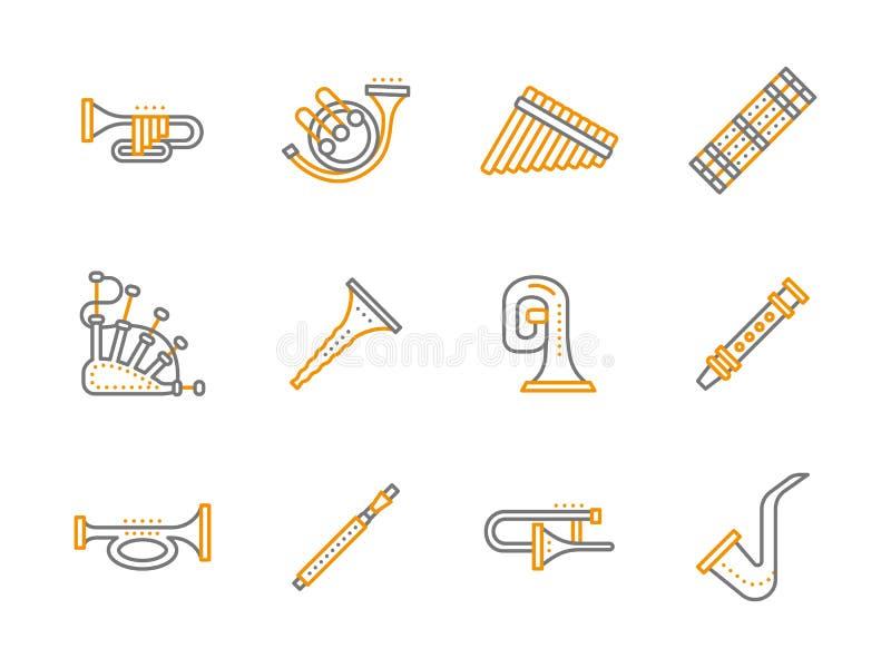 Línea simple iconos de los instrumentos musicales fijados stock de ilustración