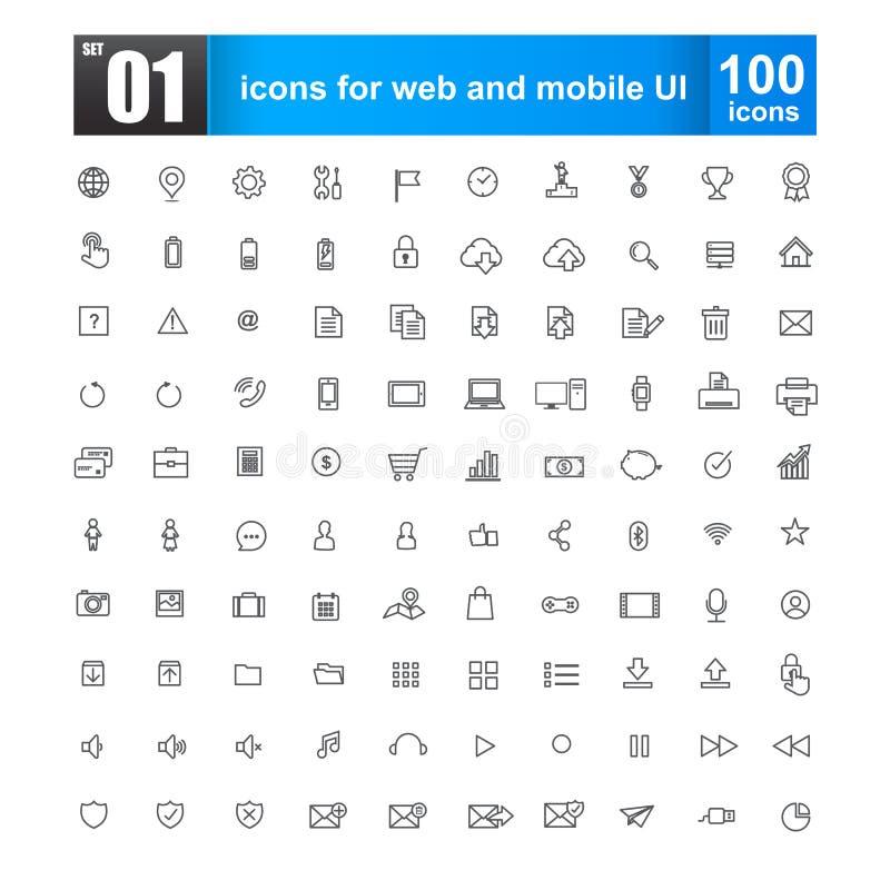 Línea simple iconos para el diseño web y el ui móvil fotos de archivo