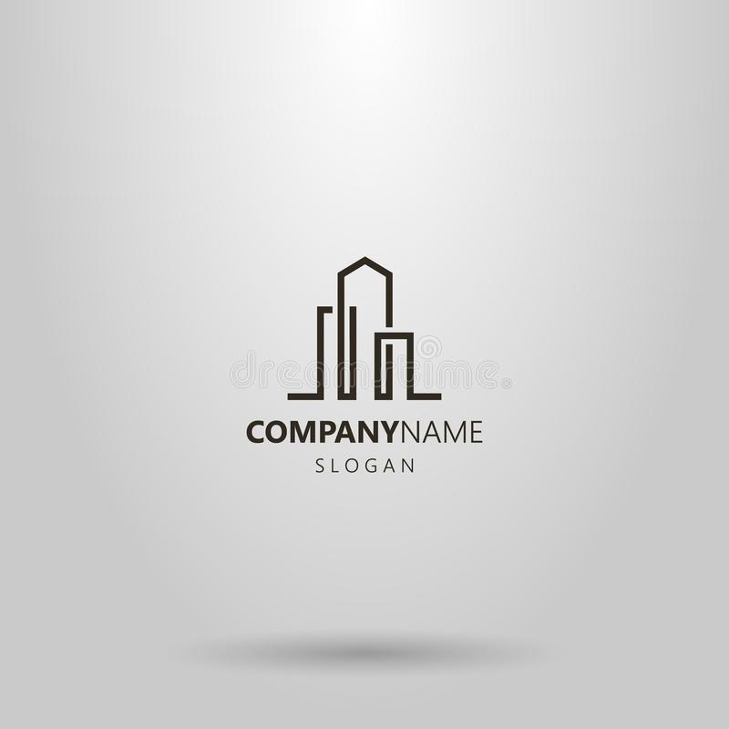 Línea simple logotipo abstracto del vector del arte de tres edificios altos libre illustration