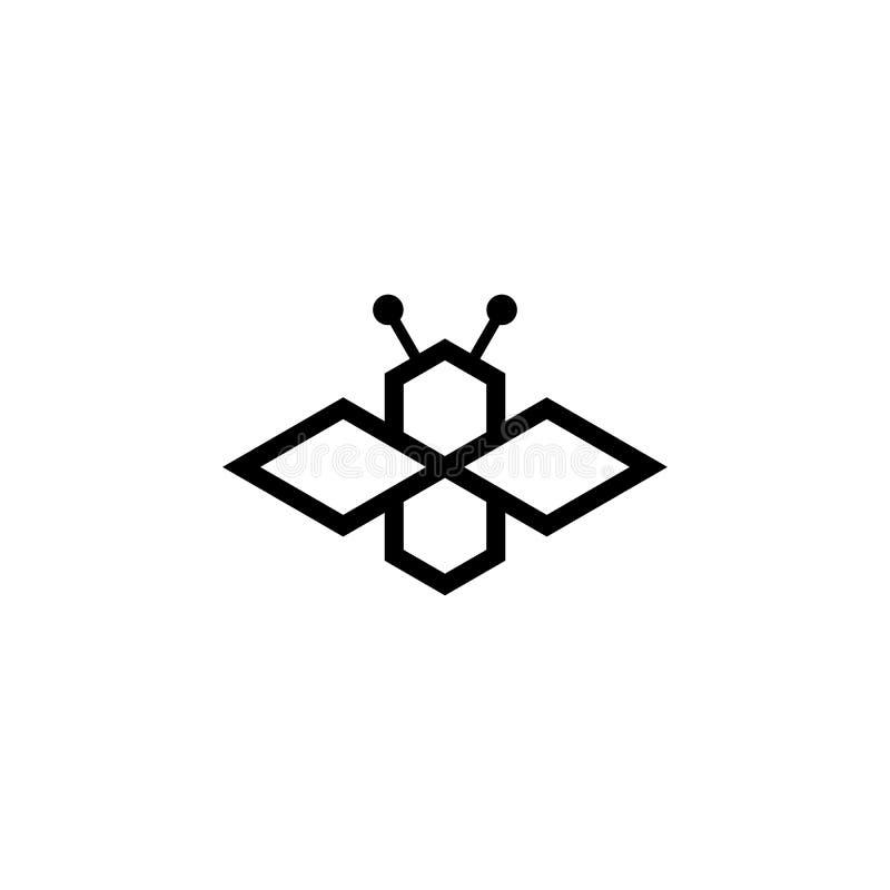 Línea simple logotipo de la abeja del arte ilustración del vector