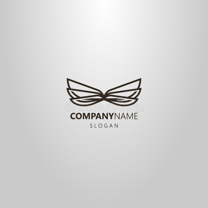 Línea simple logotipo del vector del arte de seis alas de libélula o de mariposa libre illustration