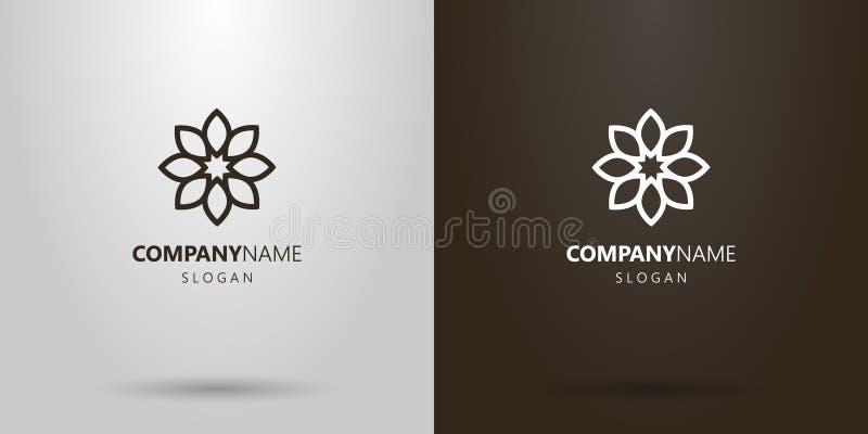 Línea simple logotipo del vector de la flor del arte con ocho pétalos ilustración del vector