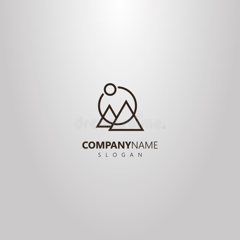 Línea simple logotipo geométrico del vector del arte de dos montañas y soles triangulares en un marco redondo ilustración del vector