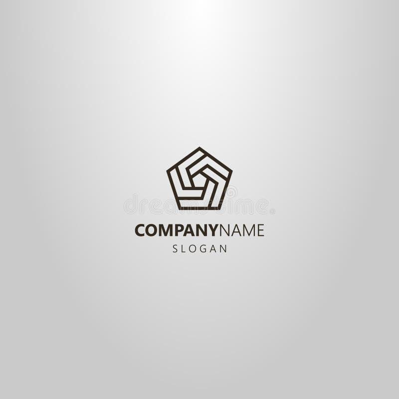 línea simple logotipo geométrico del vector del arte de espiral pentagonal de varios fragmentos libre illustration