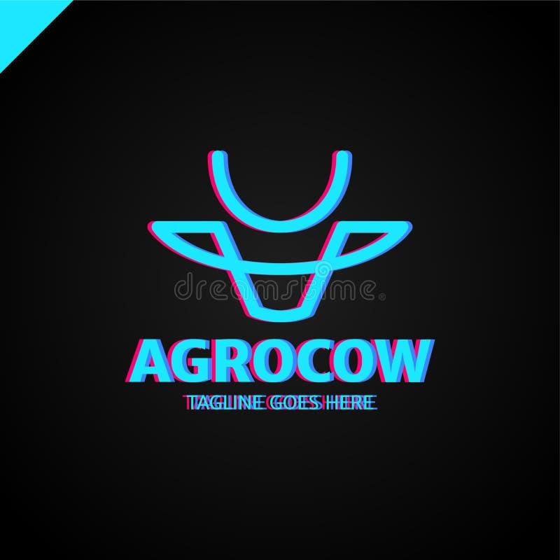 Línea simple principal logotipo de la vaca o del toro stock de ilustración