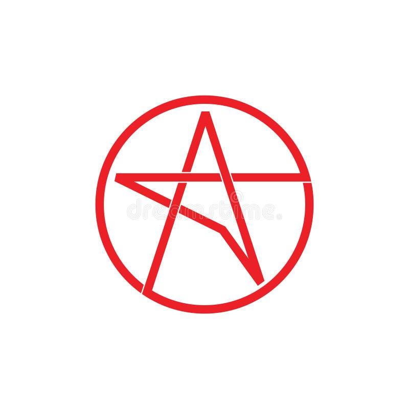 Línea simple vector de la estrella del logotipo ilustración del vector