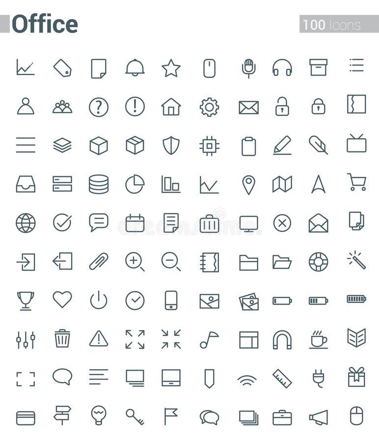 Línea simple y limpia del vector para los iconos de la oficina fijados stock de ilustración
