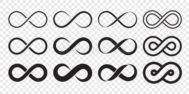 Línea sin fin muestra del infinito ilimitado del vector del icono del logotipo del lazo del infinito stock de ilustración