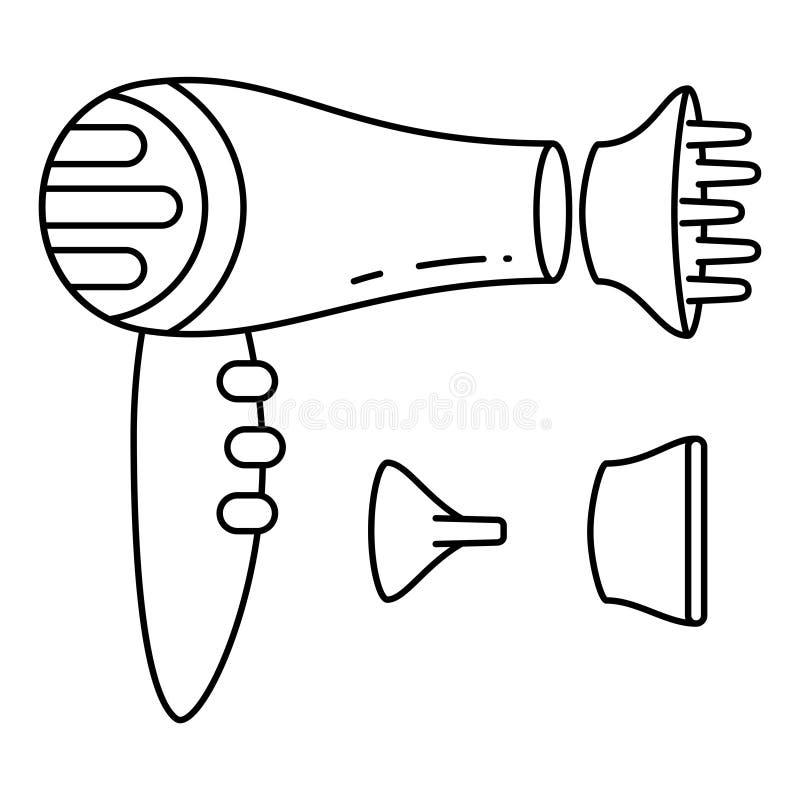L?nea sistema blanco y negro de las bocas del hairdryer del arte ilustración del vector