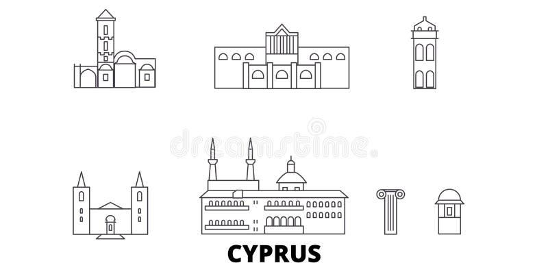 Línea sistema de Chipre del horizonte del viaje Ejemplo del vector de la ciudad del esquema de Chipre, símbolo, vistas del viaje, ilustración del vector